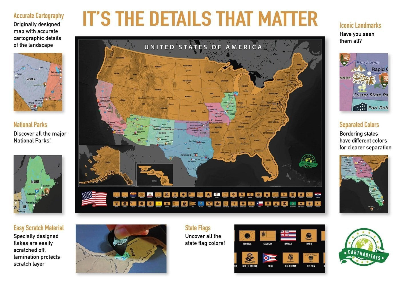 Scratch Off USA Map Poster – Earthabitats