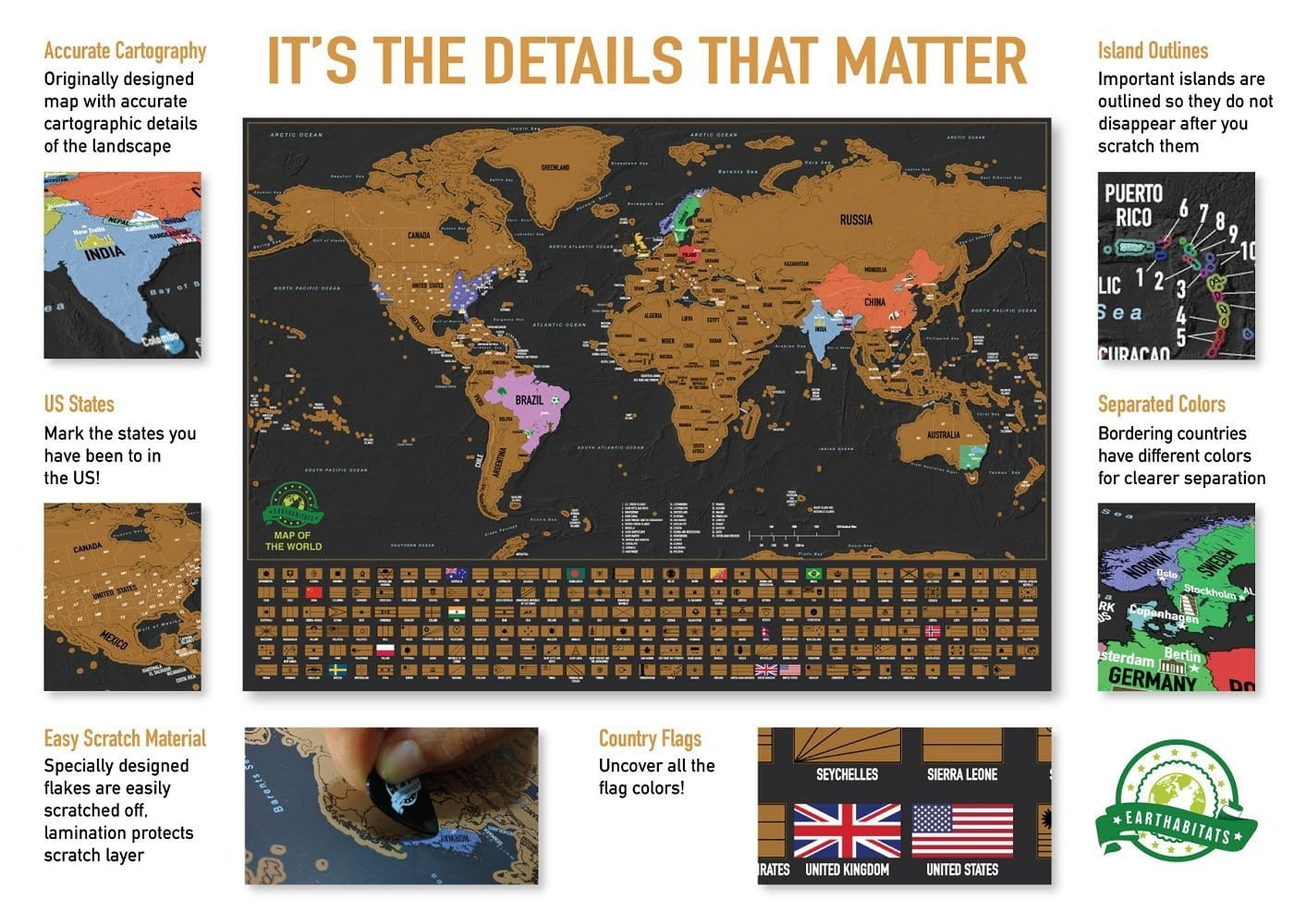 Purchase Deluxe Scratch Off World Map | World Map Poster