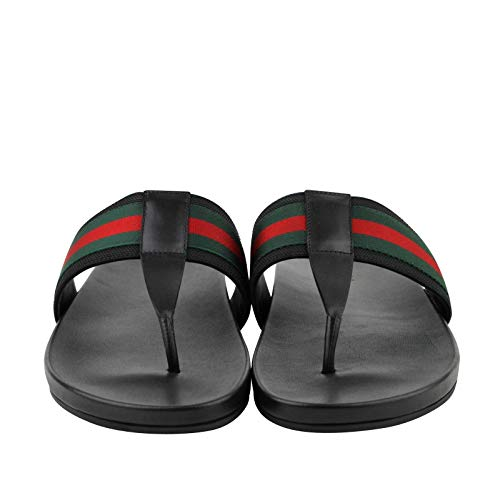 125088f875f ... Gucci Thong Sandals Black Leather Rubber with GRG Web Detail ...