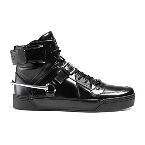 a8e12498be4 Gucci Men s Black Shiny Leather GG Horsebit High Top Sneakers Shoes