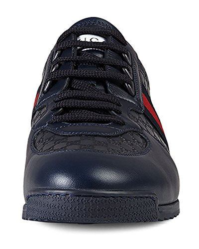 3b69033a1 Gucci Men s  SL 73  Guccissima Leather with Web Detail Sneaker  Navy – PHOENIX  LUXURY