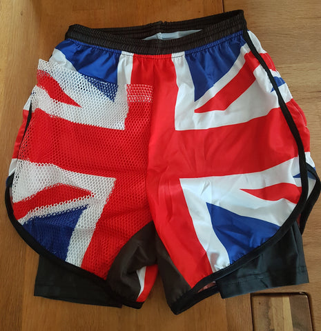 Two in one race number pocket race shorts