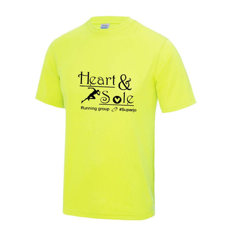 Mens Electric yellow Heart and Sole tech tee