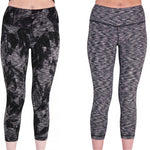 Grey Pattern Reversible Graphic Womens 7/8 Training Tights