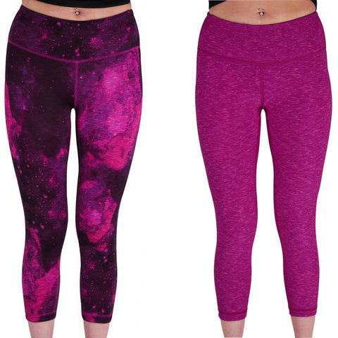 Pink Reversible Graphic Womens 7/8 Training Tights - MySports and More