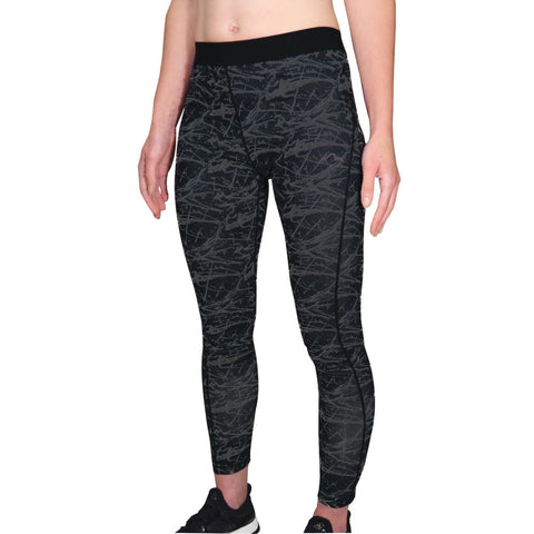Black Go For It Printed Womens Running Tights
