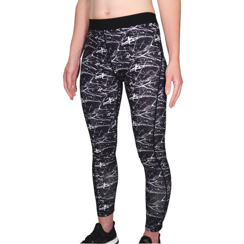 Black and White Go For It Printed Womens Running Tights