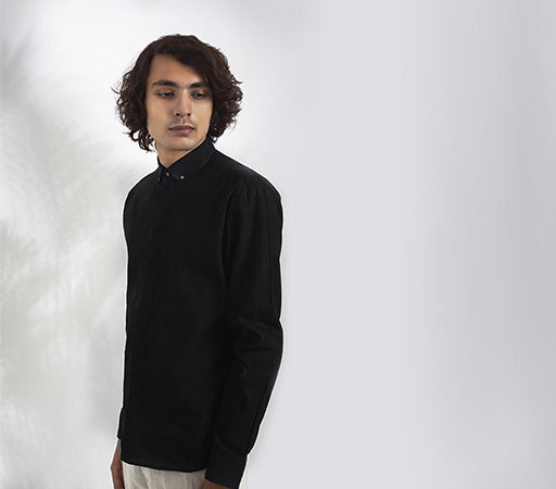Jet Black Khadi Linen Oxford