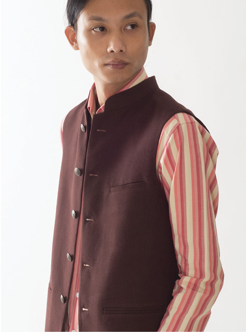 Statesman Russet Cotton Nehru Jacket