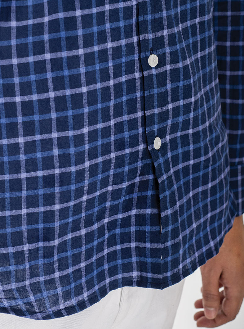 ''Checkmate'' Blue Oxford