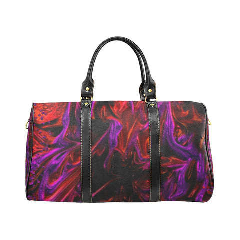 Purple Fire - small black handle New Waterproof Travel Bag/Small (Model 1639)