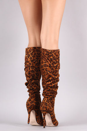 Pointy Toe Slouchy Stiletto Knee High Boots