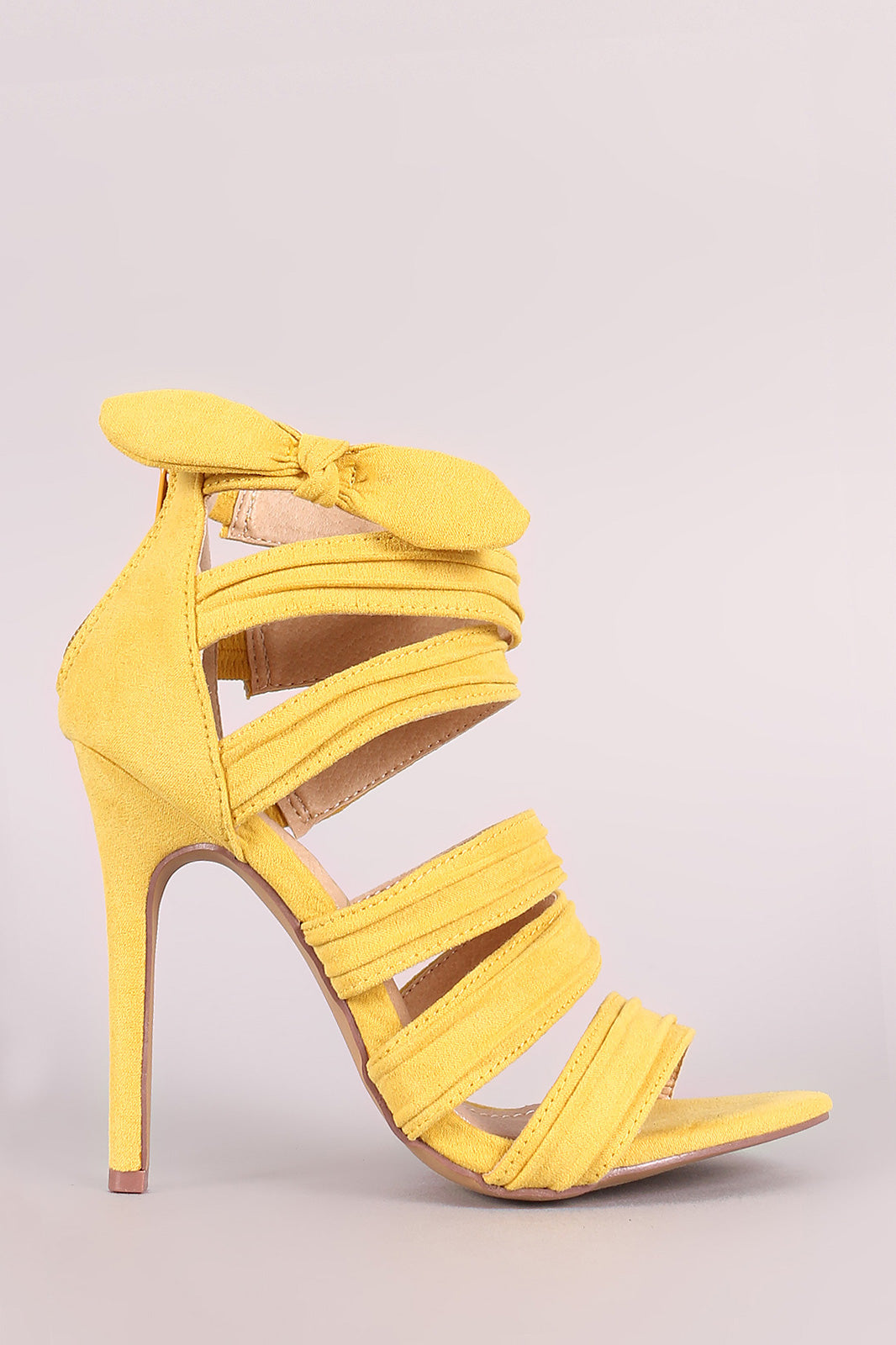 Liliana Bow Accent Strappy Ruched Stiletto Heel