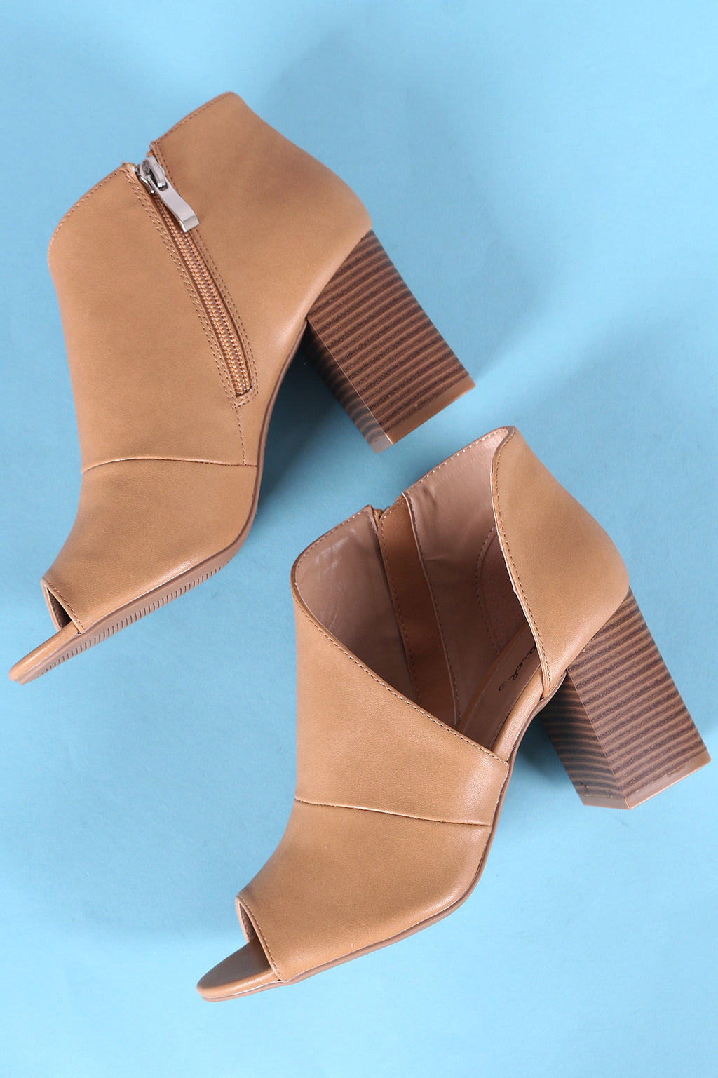 Qupid Peep Toe D Orsay Chunky Stacked Heel Booties