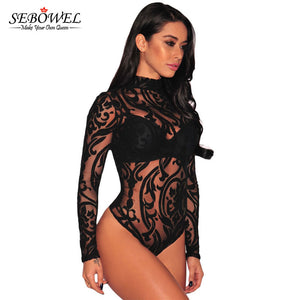 Mesh Print Long Sleeve Transparent Sexy Bodysuit