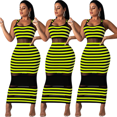 Tank You Striped Mesh Dress