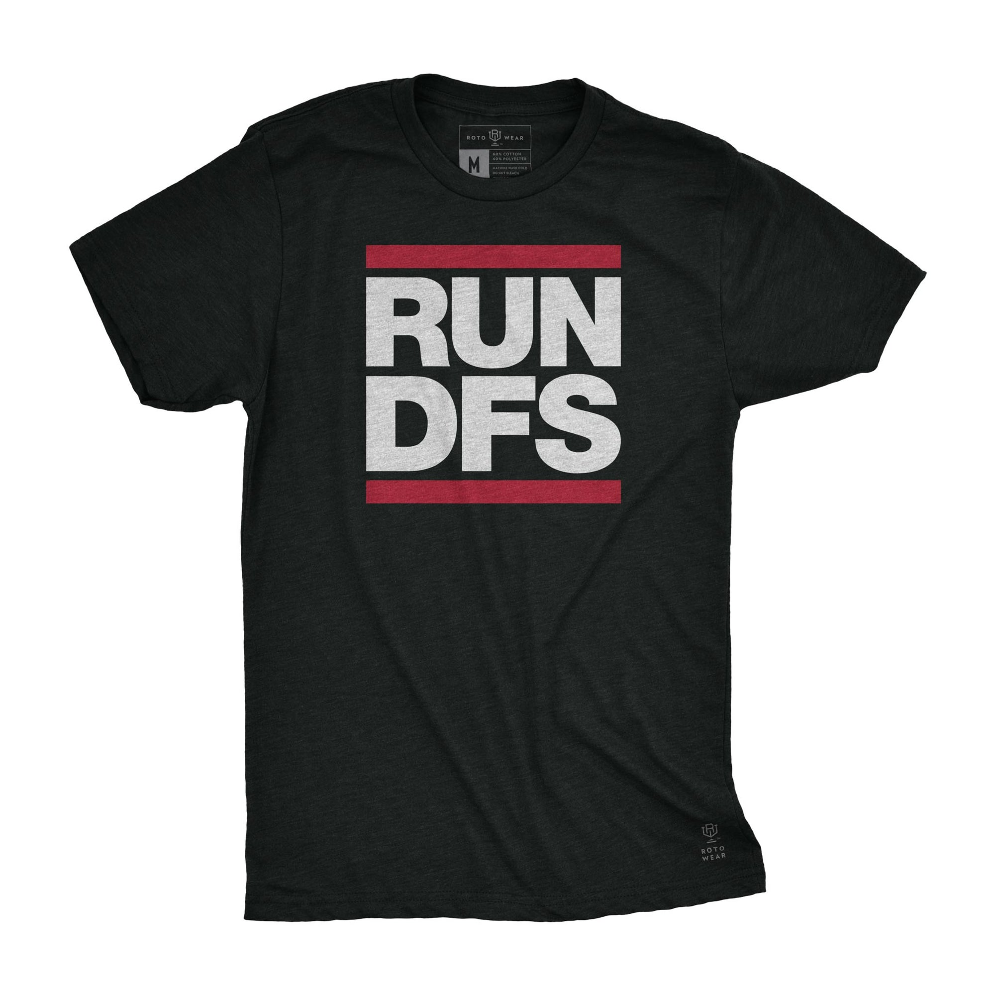 Run DFS men's t-shirt by RotoWear for daily fantasy DraftKings and Fanduel players, fantasy football, fantasy baseball, fantasy hockey and fantasy basketball managers