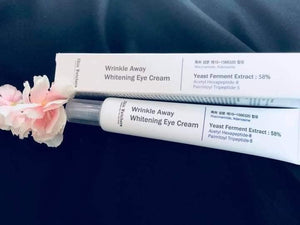Skin watchers wrinkle away whitening eye cream.