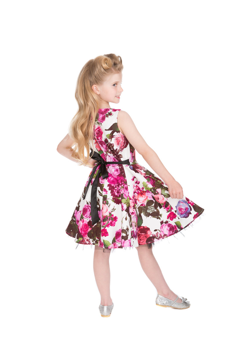 Audrey 50s Cream Floral Swing Dress (Girls) - NOW ON SALE!