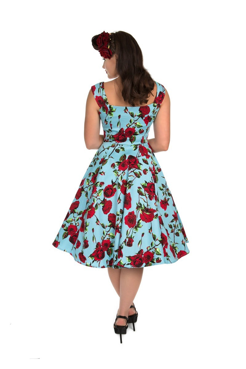 Just Arrived! The Ditsy Rose Dress in Blue & Red Rose Print!