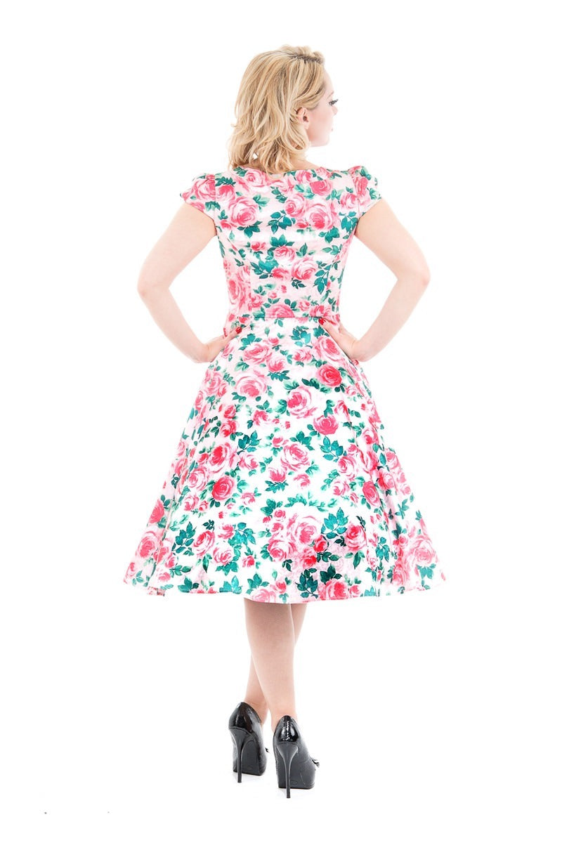 Now on Sale the Emily Dress in Bright Pink Rose Print!