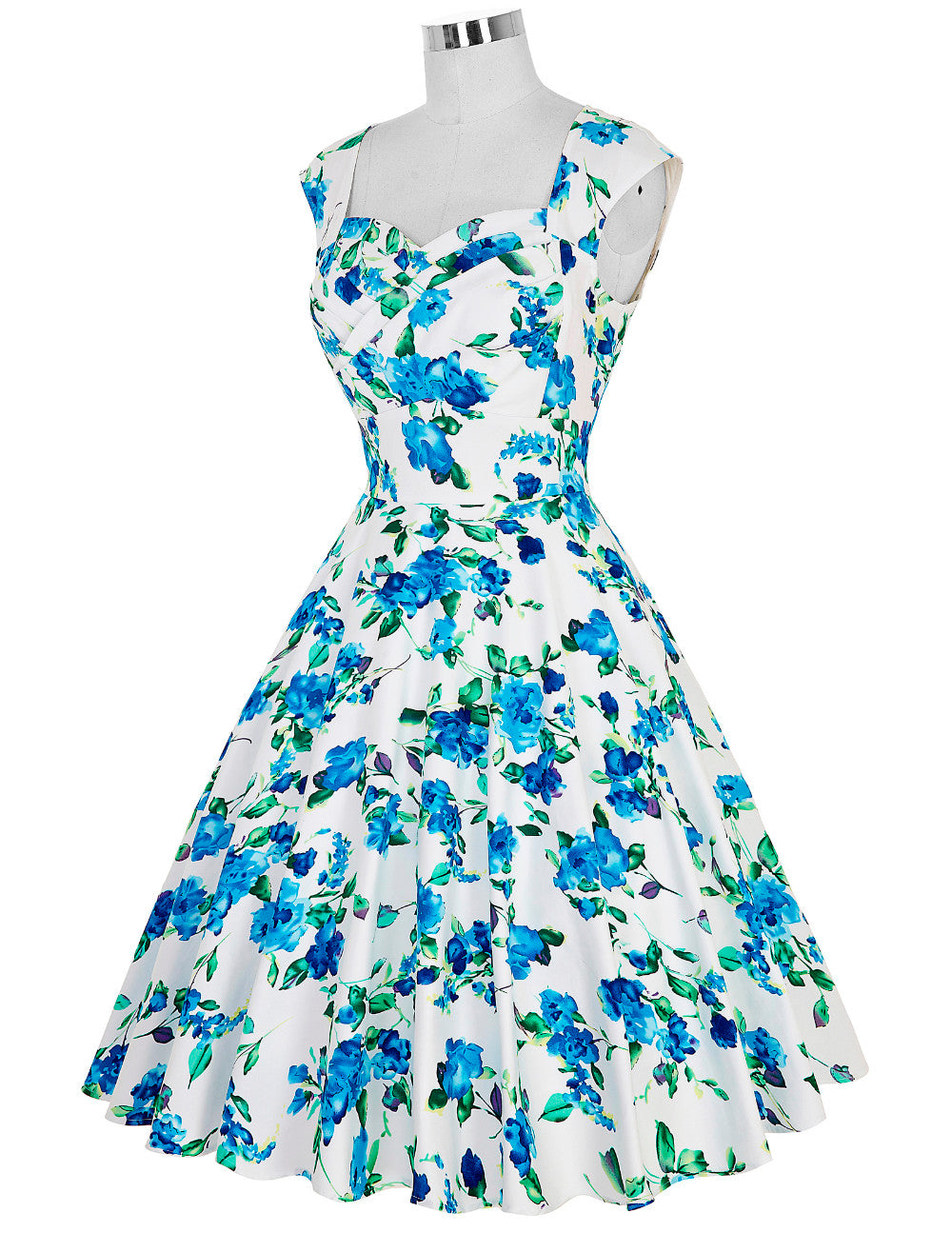 Now on Sale the Belle Dress in White and Blue Rose Print by Ponyboy Vintage Clothing!