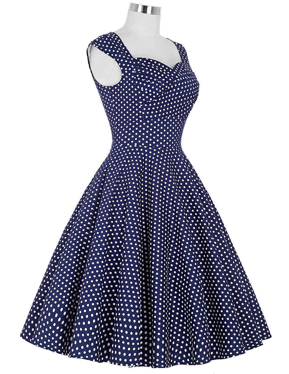 The Belle Dress in Navy and White Polka Dots by Ponyboy Vintage Clothing!