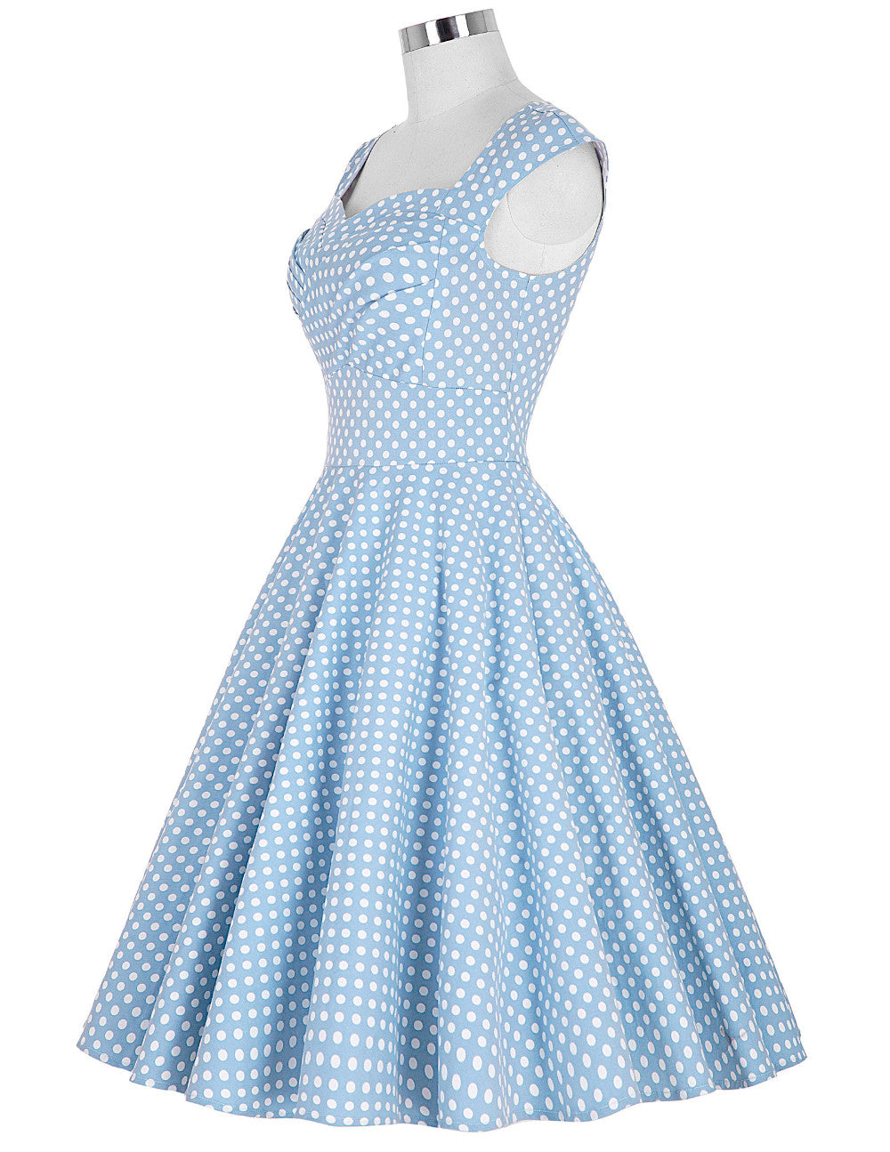 Now on Sale the Belle Dress in Light Blue with White Polka Dots by Ponyboy Vintage Clothing!