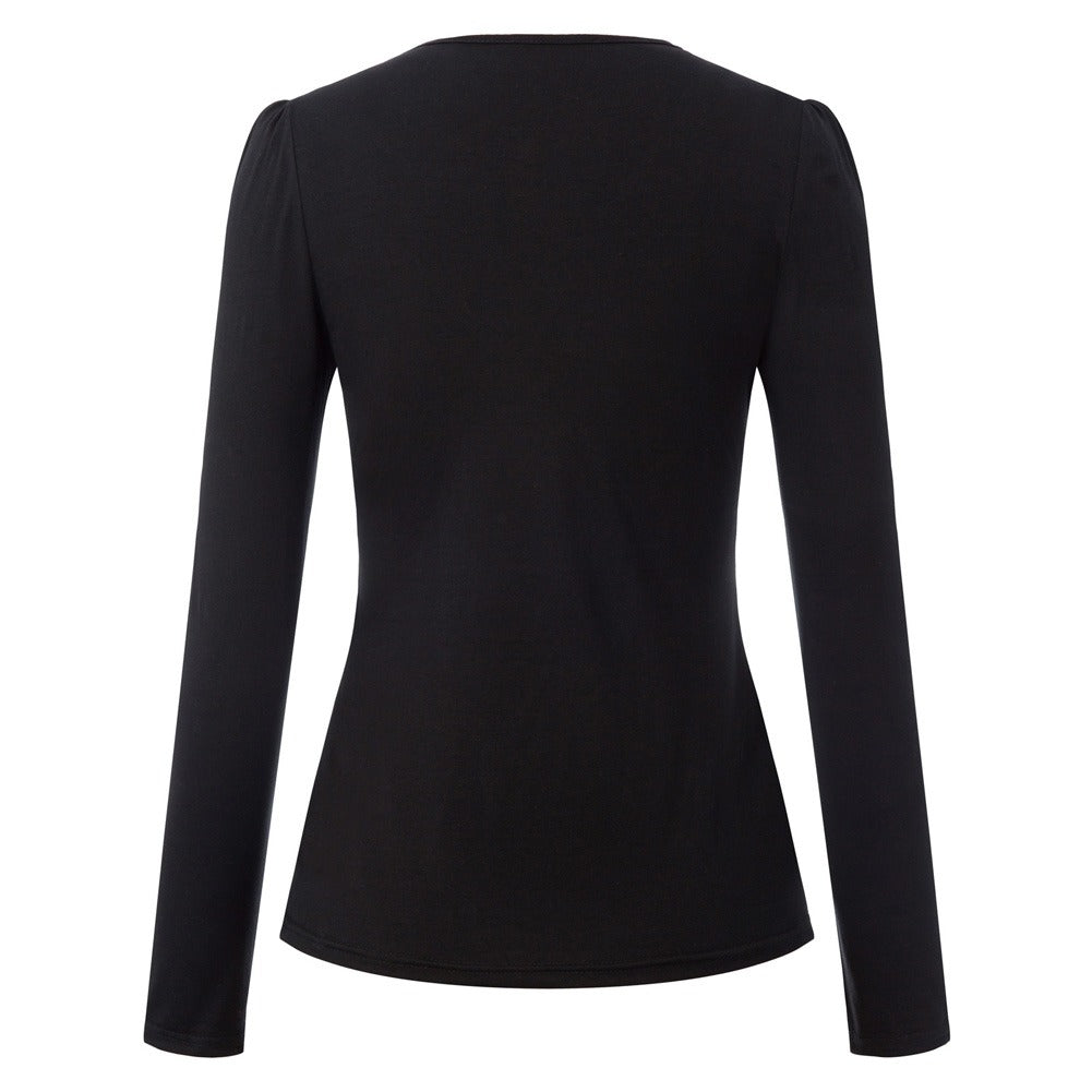 The Lottie Top in black with long sleeves by Ponyboy Vintage Clothing!