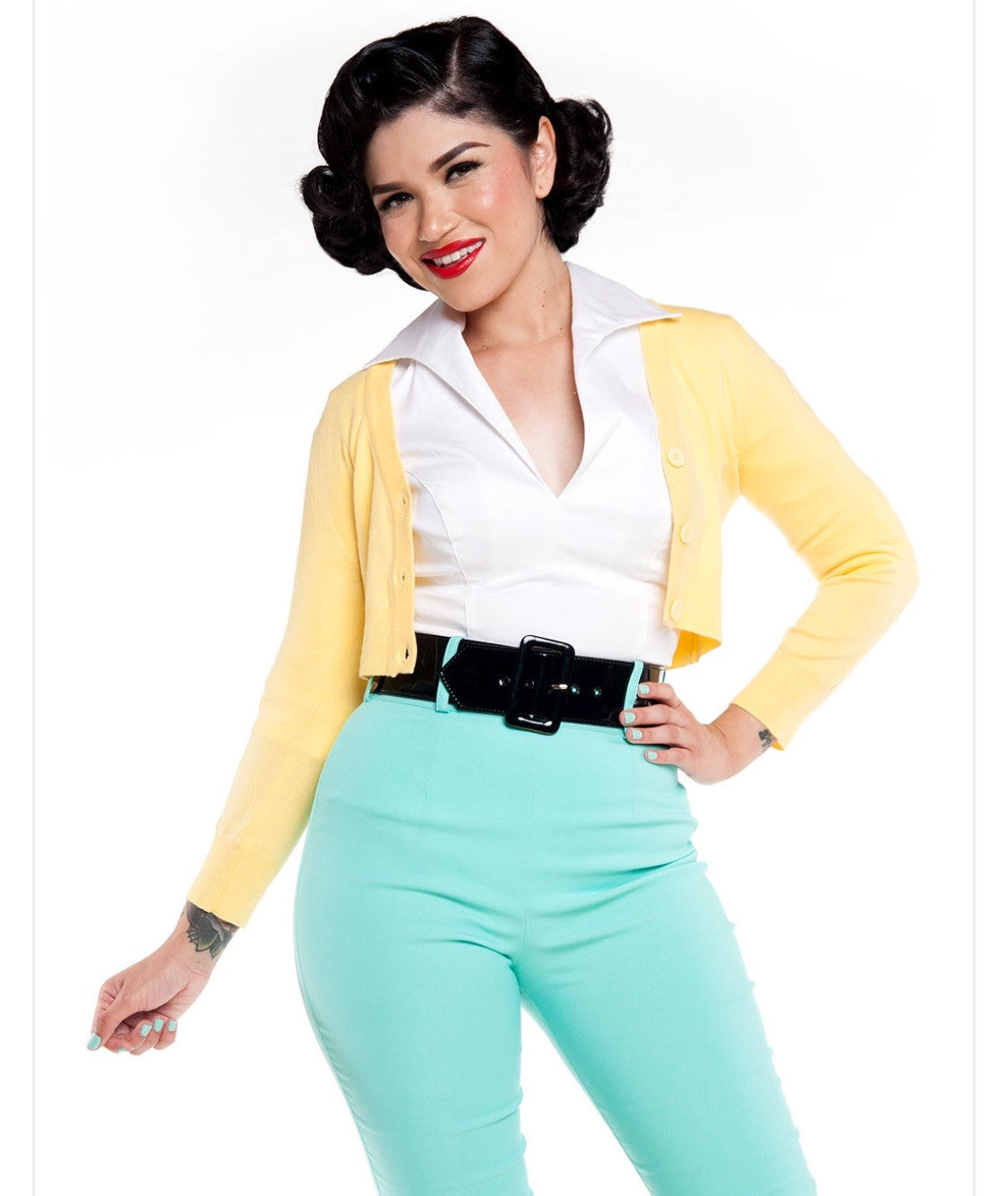 The Jackie Cropped Cardigan in Yellow!