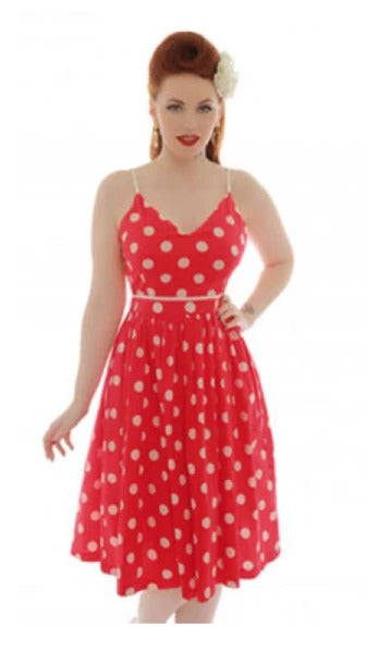 Now on Sale the Honor Polka Dot Dress in Cherry and Cream!