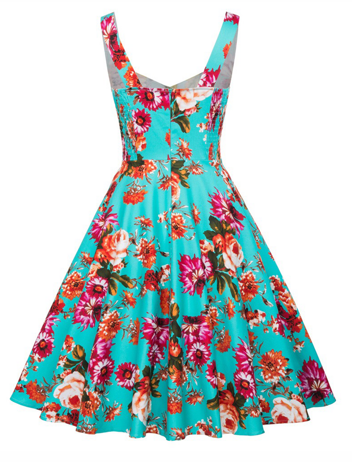 The Suzy Dress in Floral and Electric Blue Print by Ponyboy Vintage Clothing!