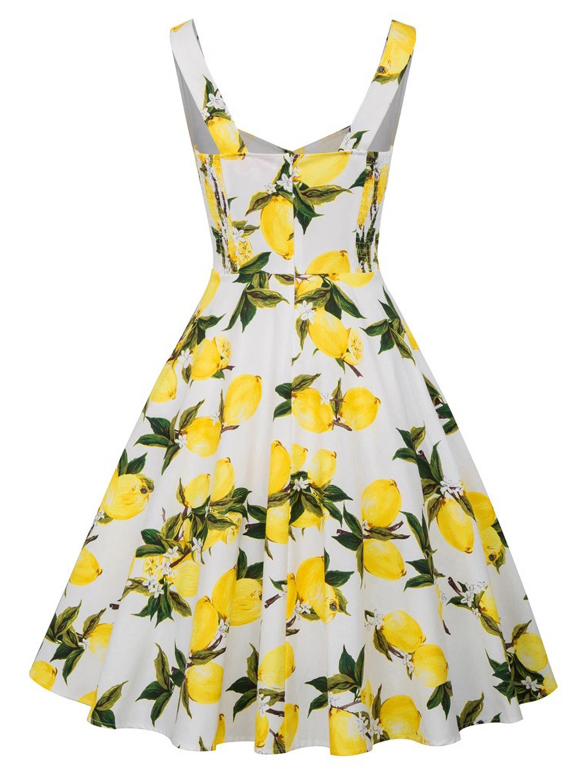 The Suzy Dress in white and lemon print by Ponyboy Vintage Clothing!