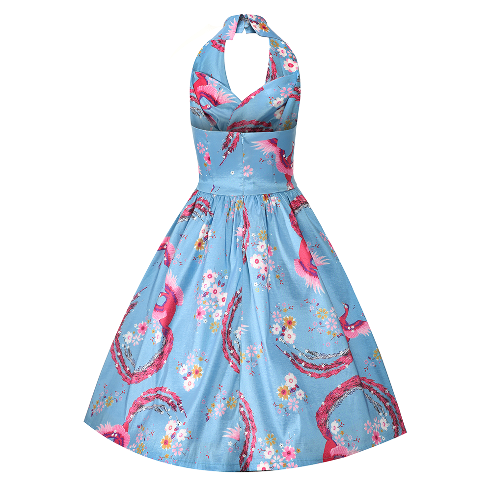 Now on Sale the Peacock Blossom Halterneck Dress by Lindy Bop!