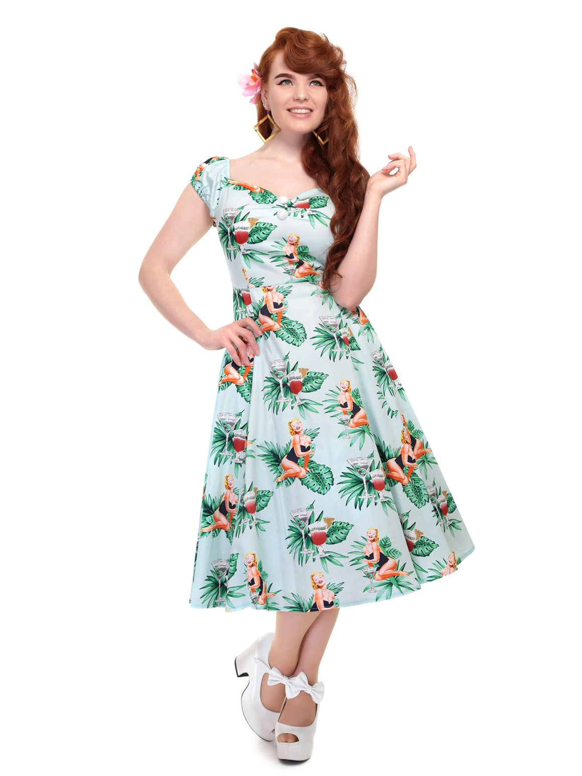 Now on Sale the Dotti Dress in Mint and Martini Girl Print!