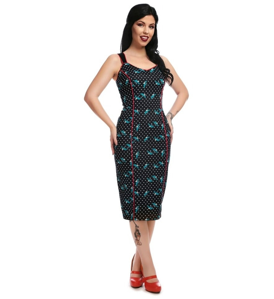 Now on Sale the Samira Swooping Swallows Pencil Dress!
