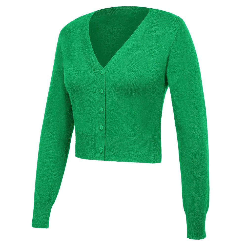 The Cindy Cropped Cardigan in emerald by Ponyboy Vintage Clothing!