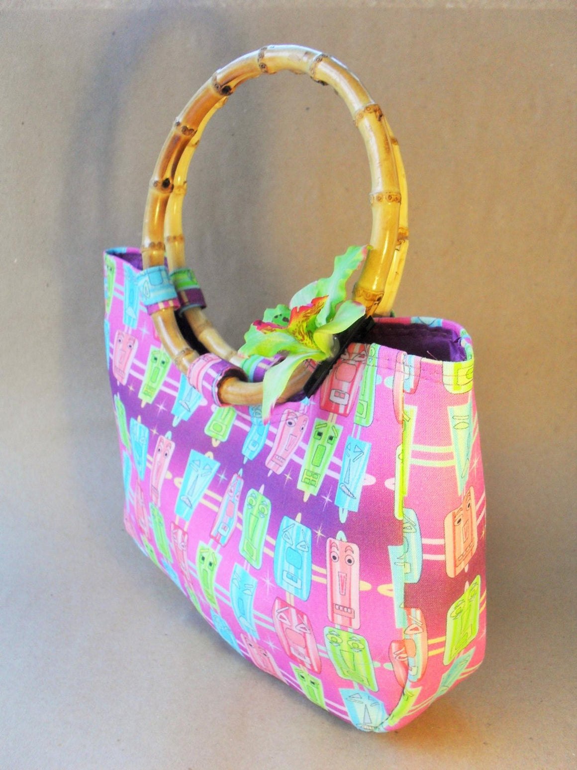Purple Tiki Design Bamboo Bag by Groovers Trunk