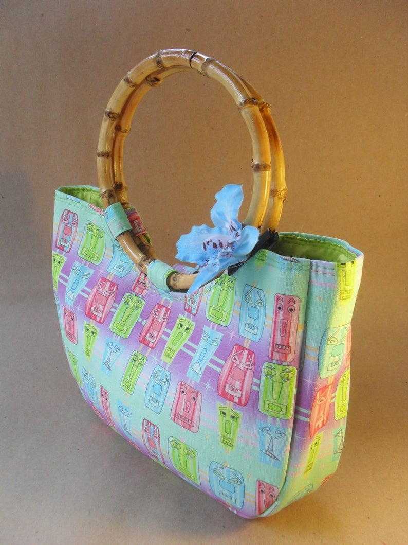 Mint Tiki Design Bamboo Bag by Groovers Trunk