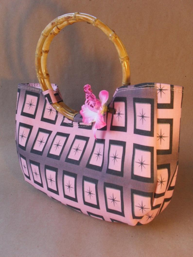 Atomic Pink Design Bamboo Bag by Groovers Trunk