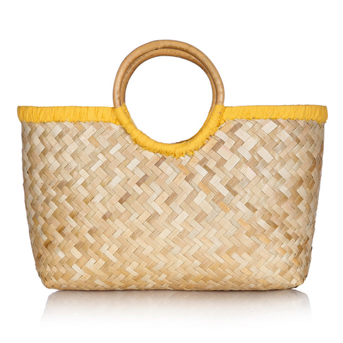 Island Life Basket In Coco Yellow - MORE STOCK COMING SOON