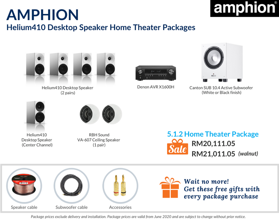 Amphion Helium410 Desktop Speaker 5.1.2 Home Theater Package