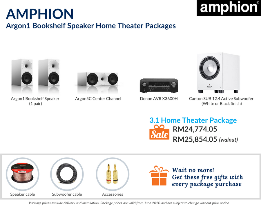 Amphion Argon1 Bookshelf Speaker 3.1 Home Theater Package