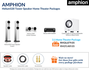 Amphion Helium520 Tower Speaker 3.1 Home Theater Package