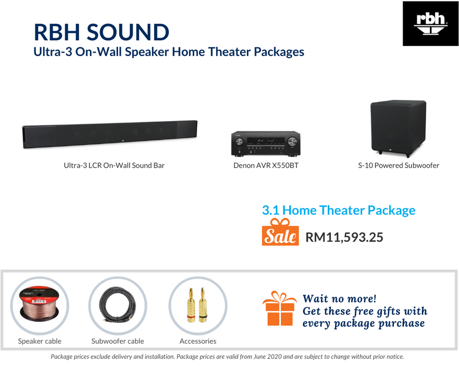 RBH Sound Ultra-3 On-Wall Speaker 3.1 Home Theater Package