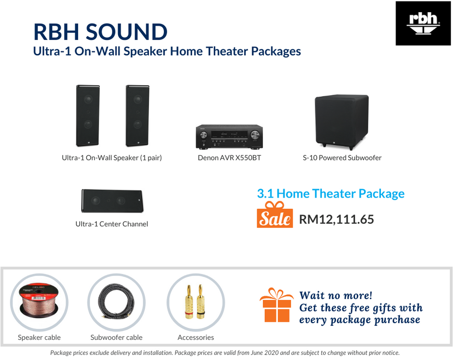 RBH Sound Ultra-1 On-Wall Speaker 3.1 Home Theater Package