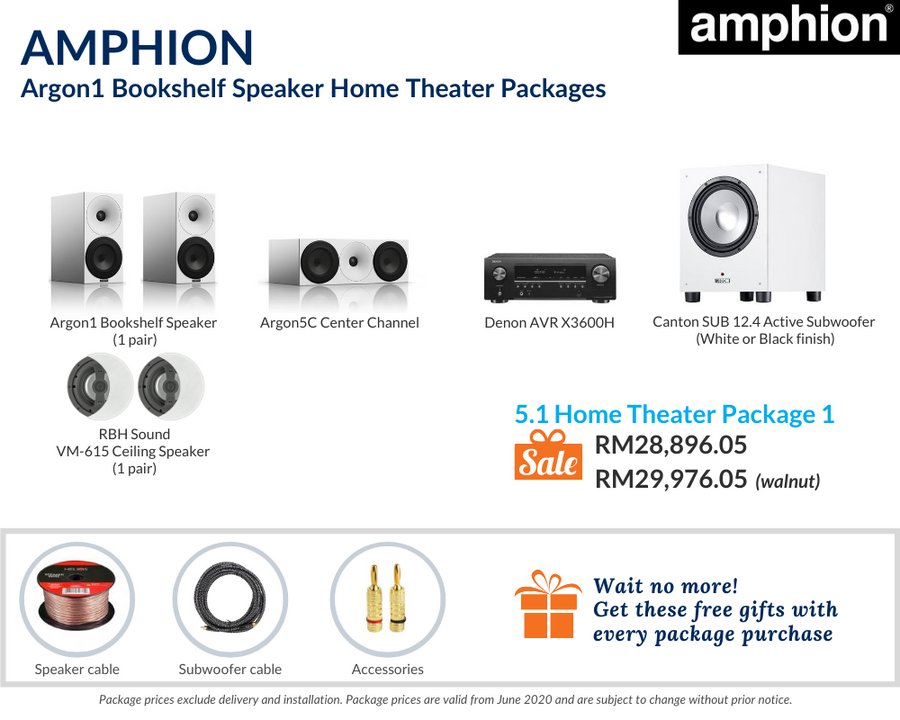 Amphion Argon1 5.1 Home Theater Package (Ceiling Package)
