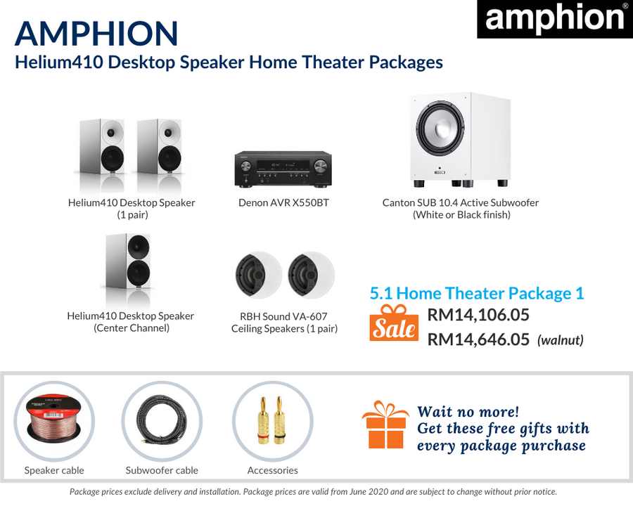 Amphion Helium410 5.1 Home Theater Package (Ceiling Speakers)