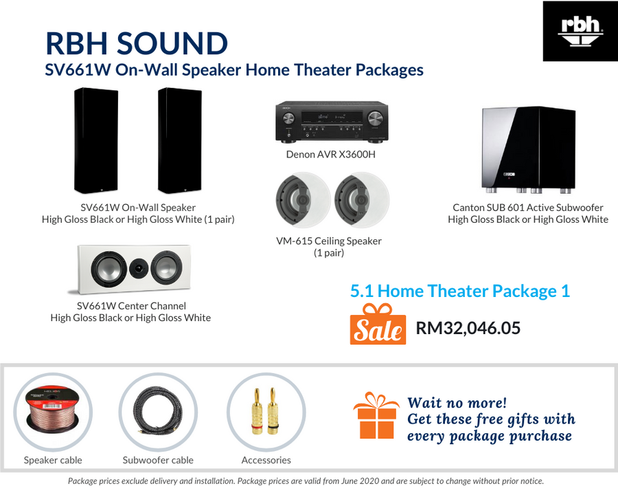 RBH Sound Signature SV661W 5.1 Home Theater Package (Ceiling Speakers)