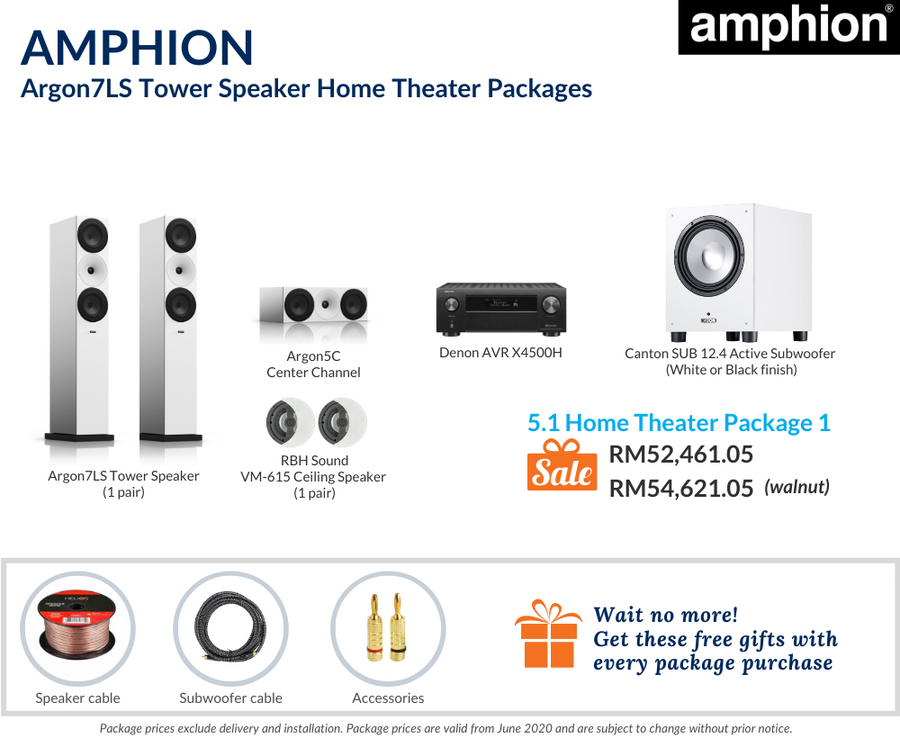 Amphion Argon7LS Tower Speaker 5.1 Home Theater Package (Ceiling Speakers)